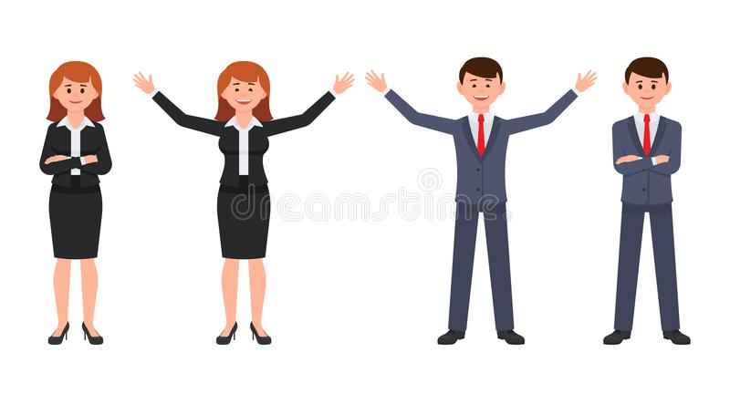 Happy business man in dark blue suit and woman in black suit cartoon character. Vector of male and female crossed hands. royalty free illustration