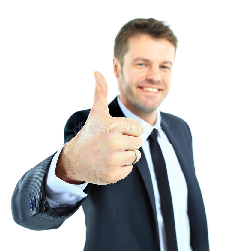Happy Business Man Going Thumbs Up Royalty Free Stock Photos