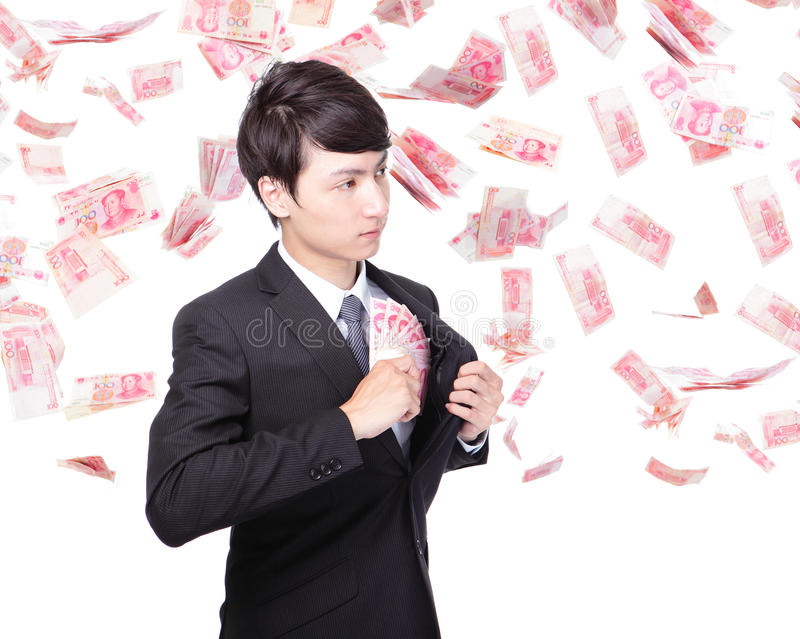 Download Happy Business Man Hold China Money Stock Image - Image: 32942611