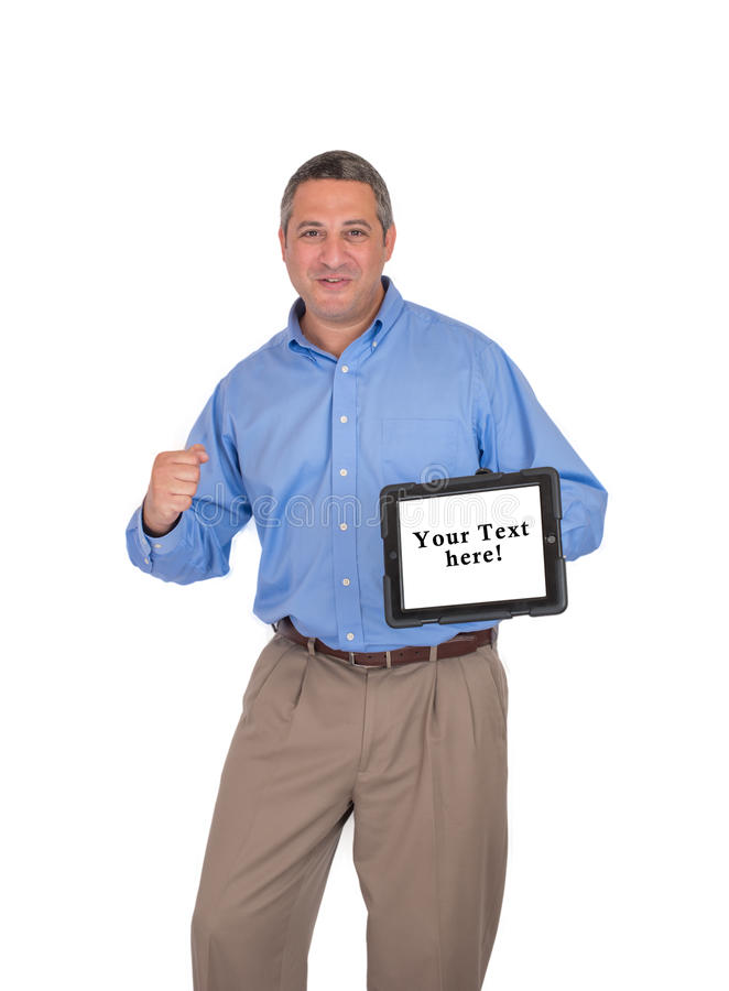Happy business man holding tablet royalty free stock photography