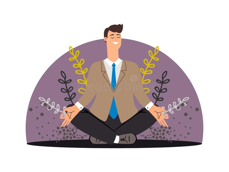 Happy business man. Meditation vector concept isolated royalty free illustration