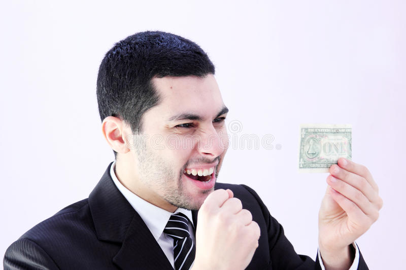 Happy business man with money royalty free stock photography