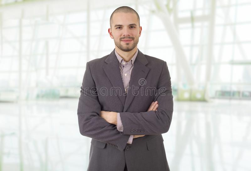Business man. Happy business man at the office stock images