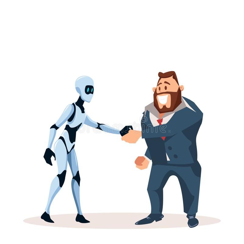 Happy Business Man in Suit and Robot Shake Hand. Partnership with Artificial Intelligence Character. Office Worker in Formal Wear and Male Smart Bot make stock illustration