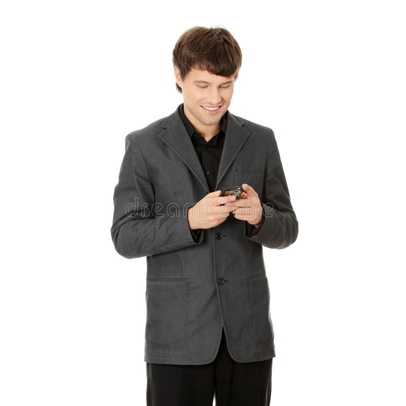 Download Happy Business Man Using Mobile Phone Stock Image - Image: 17080889