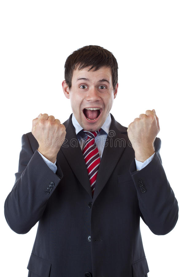 Download Happy Business Men Cheers Loud With Clenched Fists Royalty Free Stock Photos - Image: 20403868