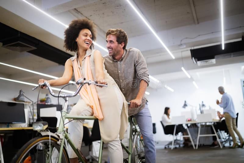 Happy business people are having fun in a modern office. Happy team concept. royalty free stock photography