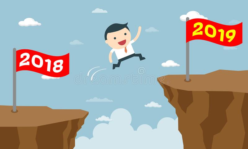 Happy Business People Jumping from Year to New Year vector illustration