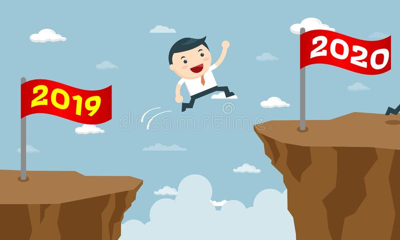 Happy Business People Jumping from Year to New Year stock illustration