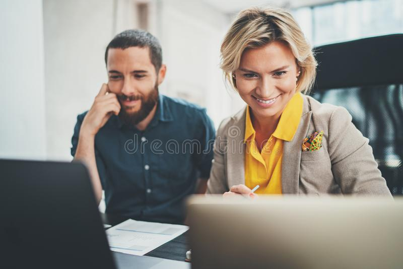 Happy Business people meeting concept. Blurred background. royalty free stock photography
