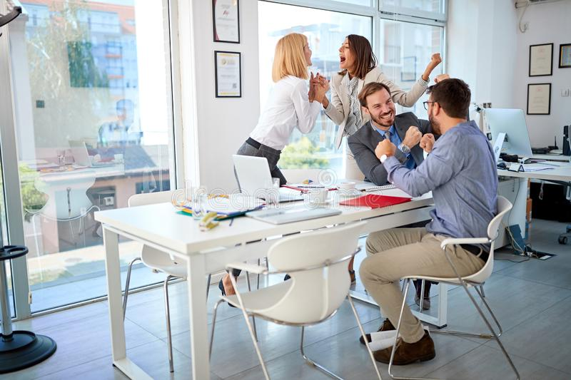 Business people successfully completed business meeting. Happy business people successfully completed business meeting royalty free stock image