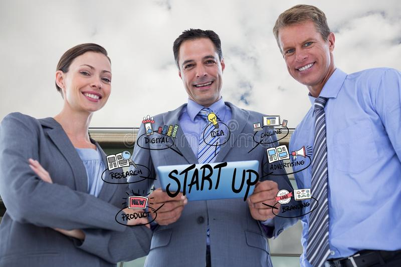 Happy business people with tablet PC representing start up concept. Digital composite of Happy business people with tablet PC representing start up concept royalty free stock photography