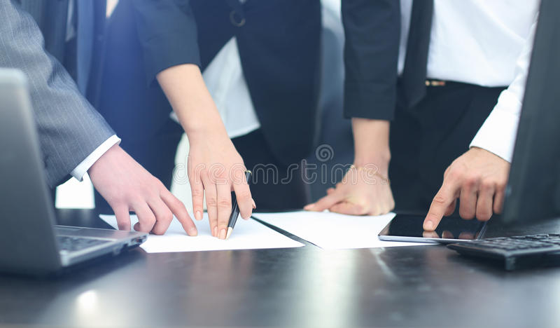 Happy business people talking on meeting at office royalty free stock images