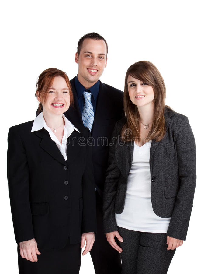 Happy business team. Group of smiling, happy business people, isolated studio shot royalty free stock photography
