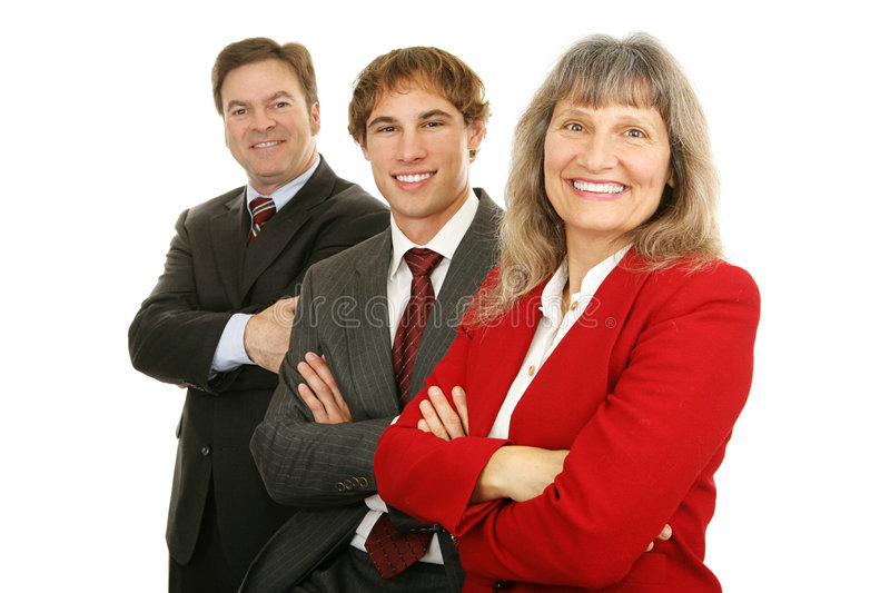 Happy Business Team. Happy, diverse business team with woman leader out in front. Isolated on white royalty free stock photos