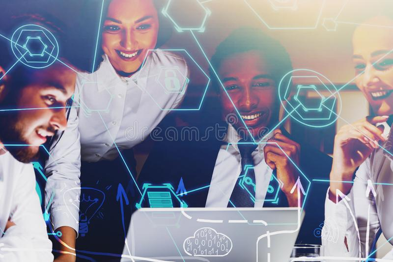 Happy business team, business plan sketch. Happy diverse business people working together in office with double exposure of business plan sketch. Concept of royalty free stock photography
