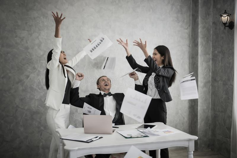 Happy business team enjoy success deal business.Teamwork leadership royalty free stock photos