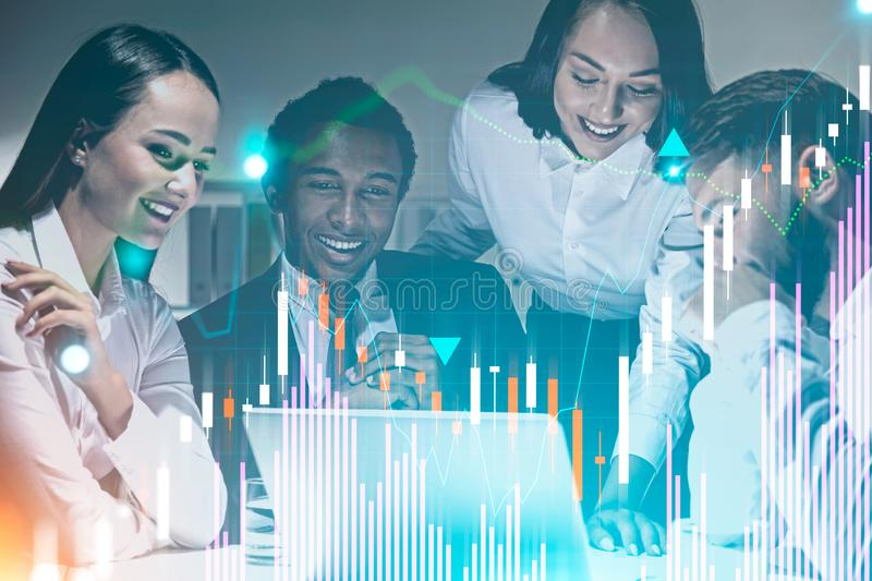 Happy business team in office, graphs royalty free illustration