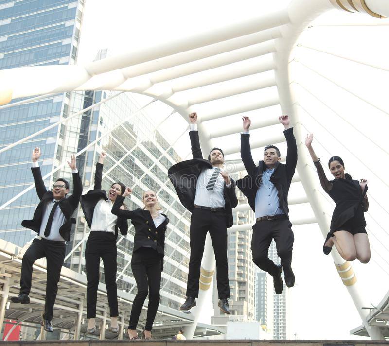 Happy business teamwork group jump up. concept celebration royalty free stock photos