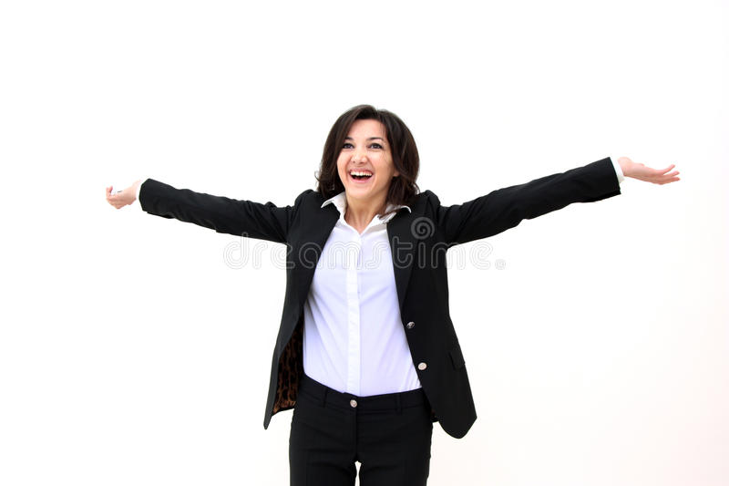 Happy business woman. Successful business woman concept. Portrait of happy business woman isolated over white background royalty free stock photos