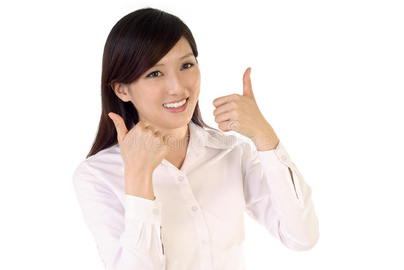 Happy business woman. With ok gesture on white background stock photos