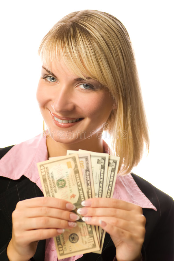Download Happy business woman stock image. Image of beauty, bills - 3451193