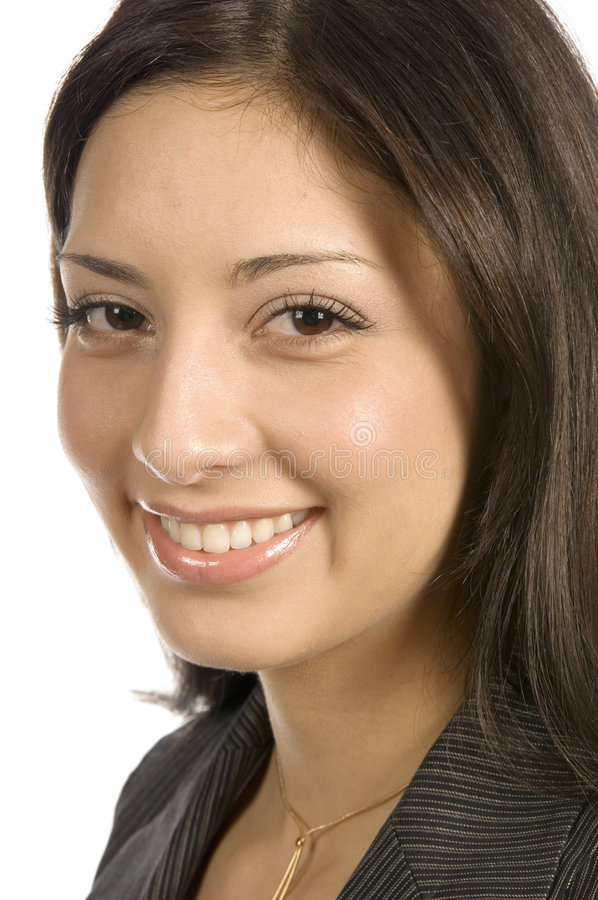 Happy business woman. Young business woman smiling stock photo