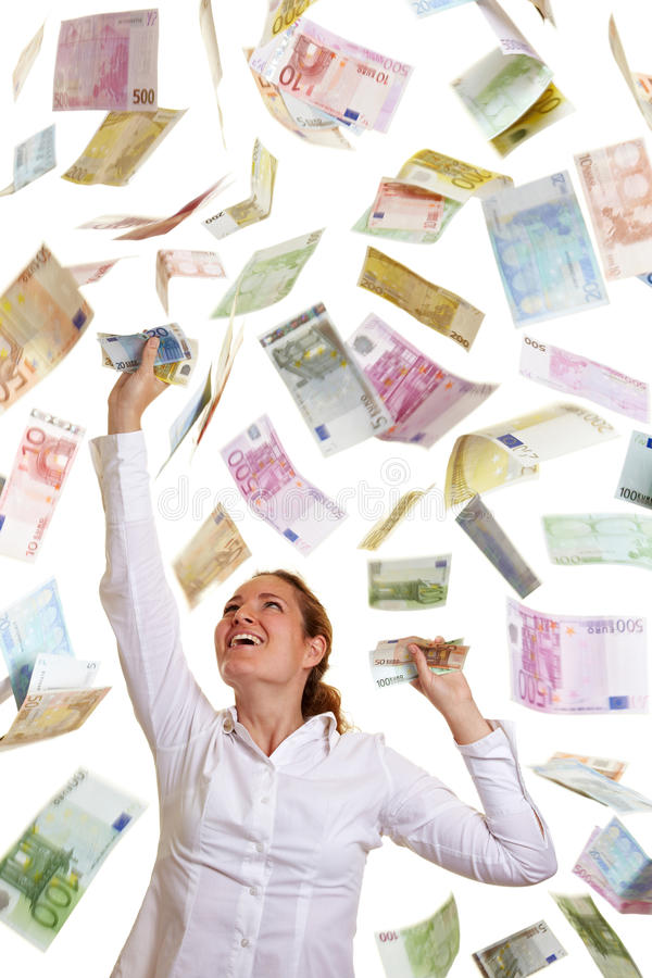 Happy business woman catching. Falling Euro money royalty free stock photography