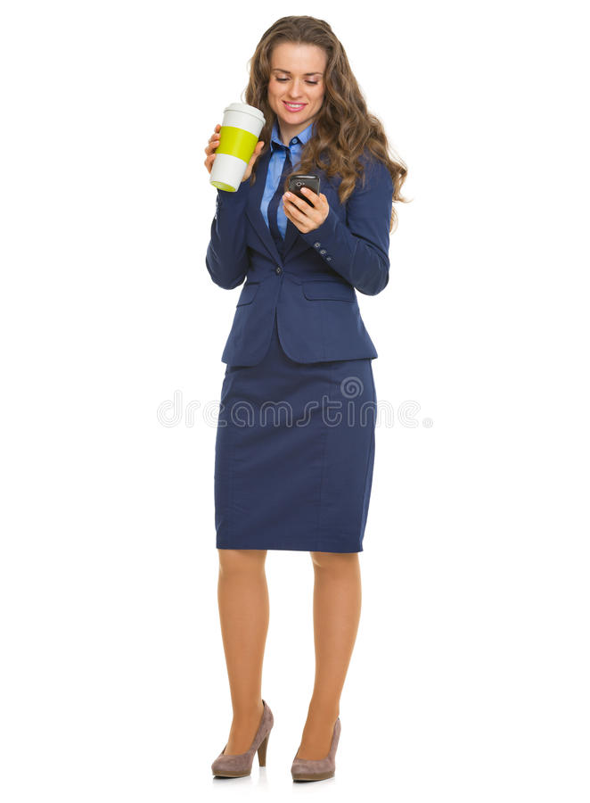 Download Happy Business Woman With Cup Of Hot Beverage Writing Sms Stock Image - Image: 34244175