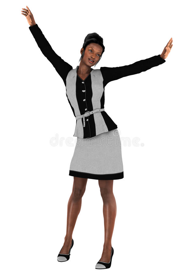 Happy Business Woman. 3D digital render of a happy black business woman isolated on white background royalty free stock photography