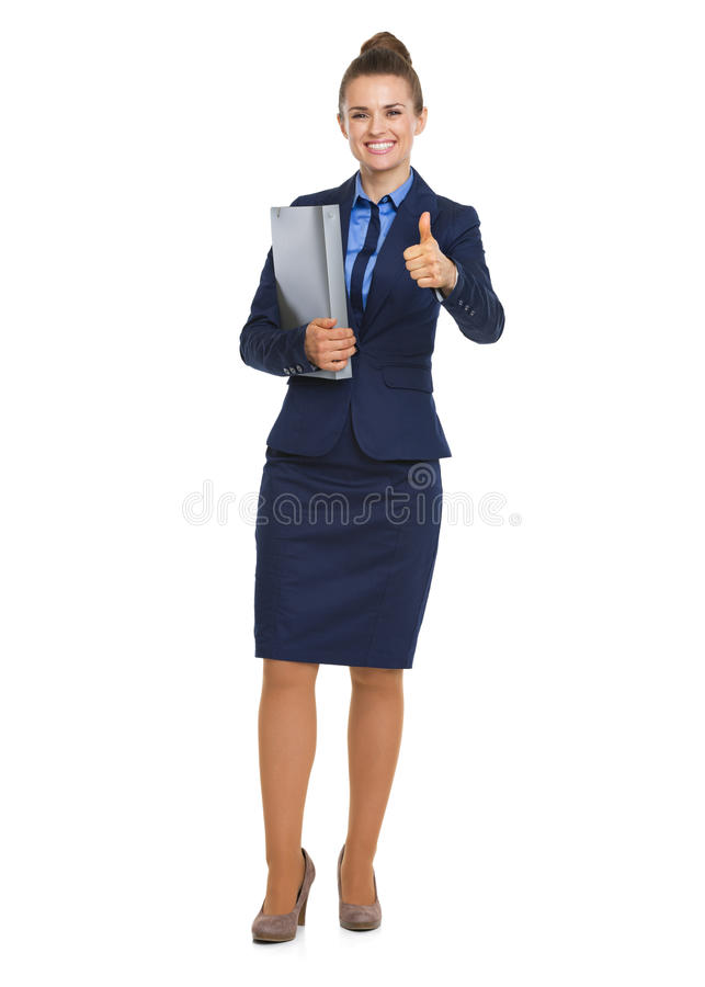 Happy Business Woman With Folder Showing Thumbs Up Stock Photos