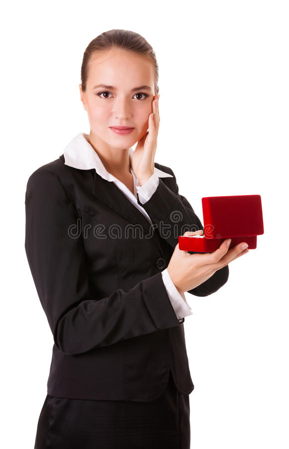 Happy business woman with a gift