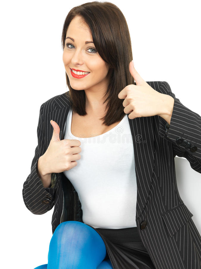 Happy Business Woman Giving Thumbs Up stock images