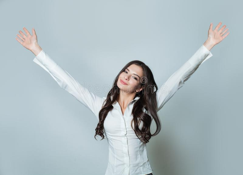 Happy business woman with hands up. royalty free stock photo