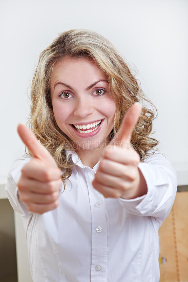 Happy Business Woman Holding Both Stock Photography