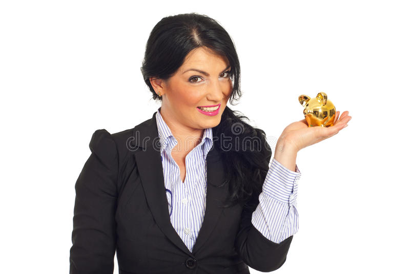 Happy business woman holding small piggy bank royalty free stock photos