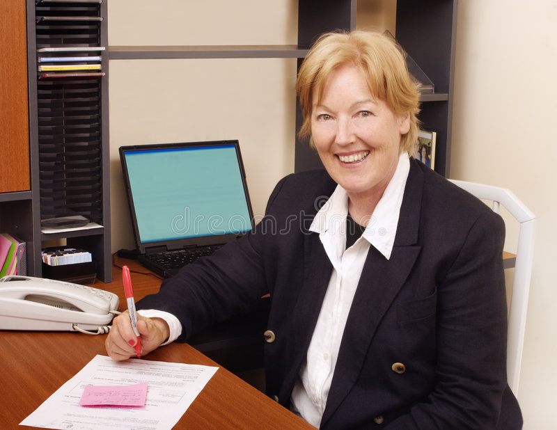 Happy business woman II royalty free stock photography