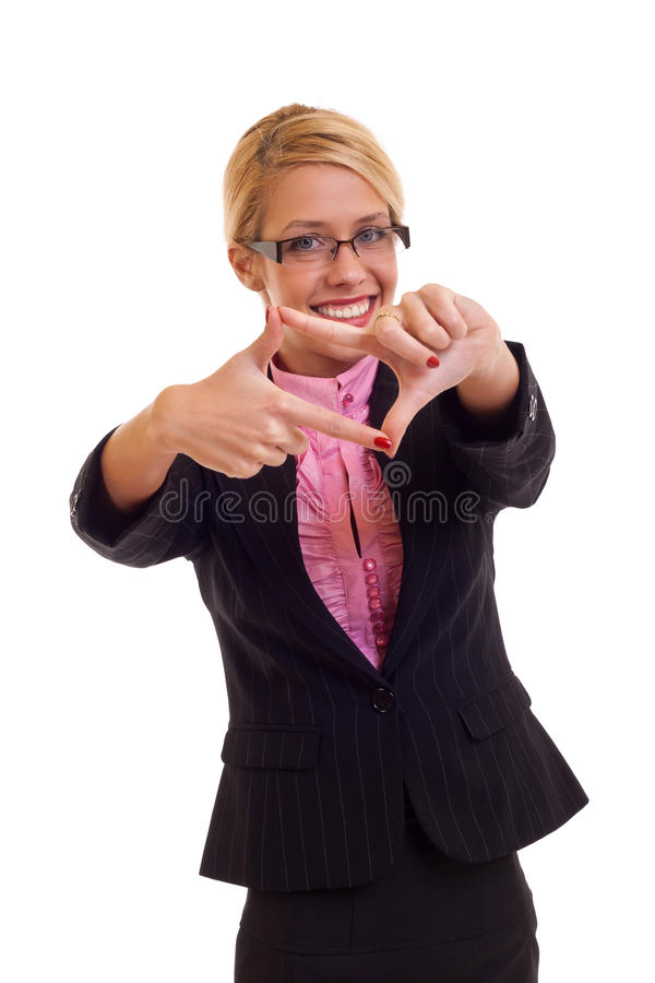 Download Happy Business Woman Making Hand Frame Stock Photo - Image: 17754946