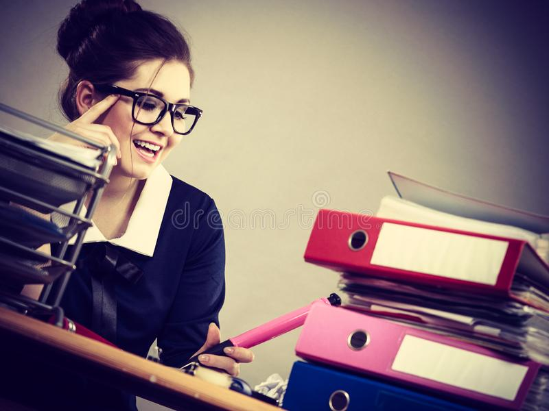 Happy business woman in office royalty free stock photo