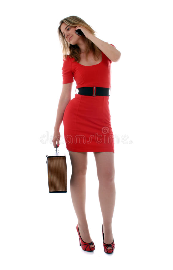 Happy business woman on the phone royalty free stock images