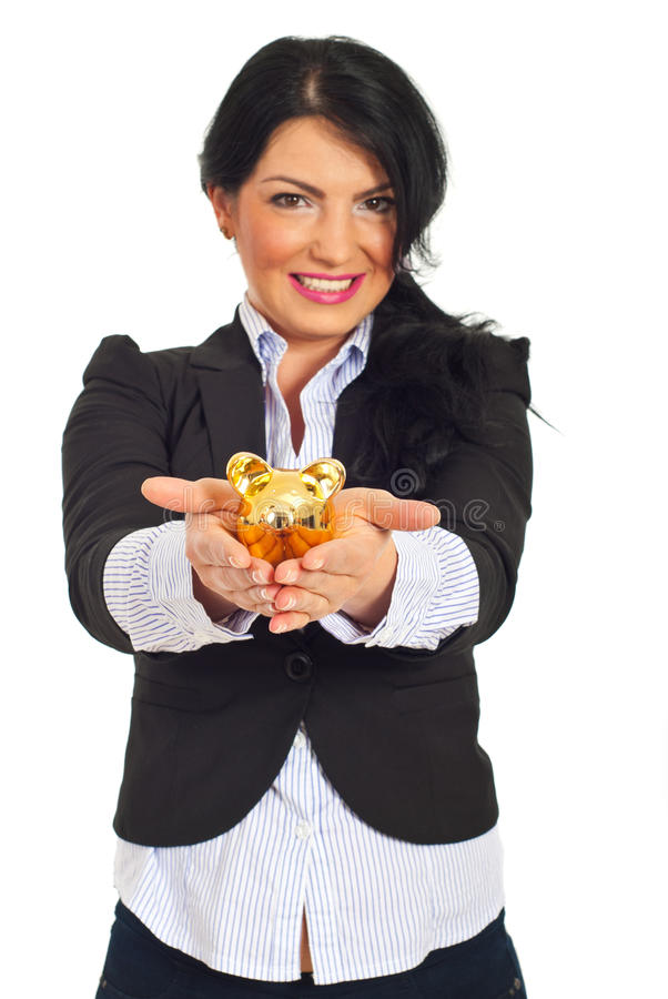 Happy business woman with piggy bank royalty free stock photos