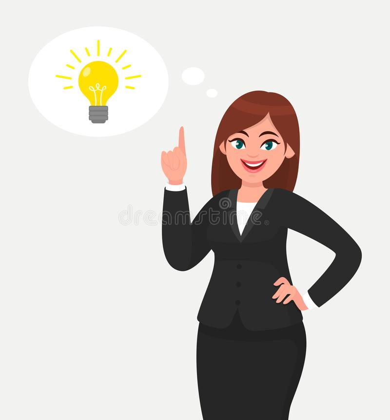 Happy business woman pointing hand up and bright light bulb appearing in the thought bubble. Idea and innovation concept illustration in cartoon style royalty free illustration