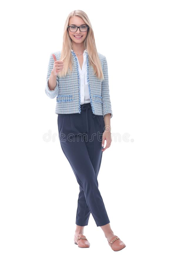 Happy business woman showing thumbs up.isolated on white stock images