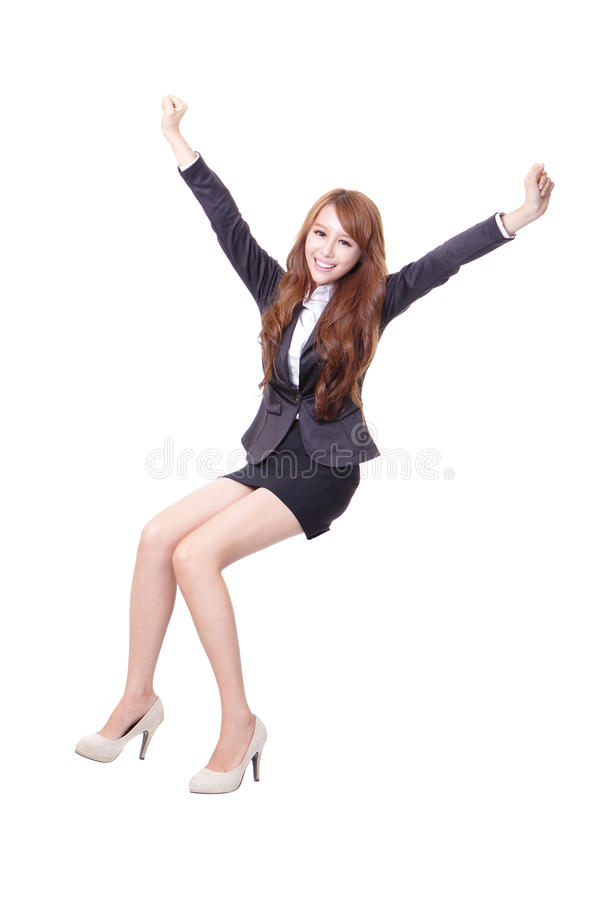 Download Happy Business Woman Sitting Stock Photo - Image: 34291784