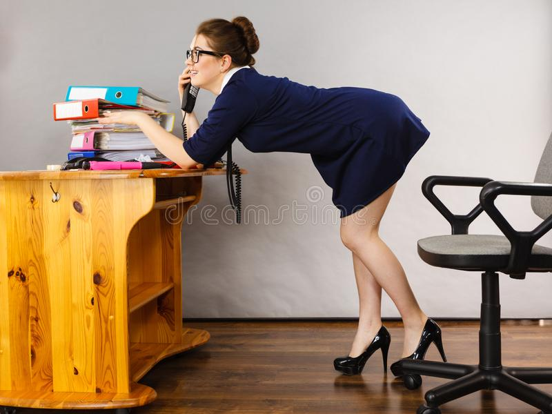 Happy secretary business woman in office royalty free stock photo