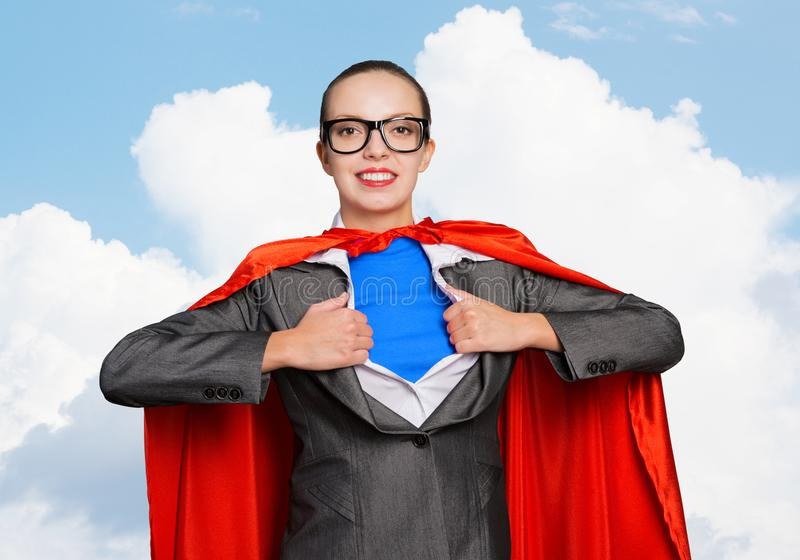 Happy business woman super heroine stock photography