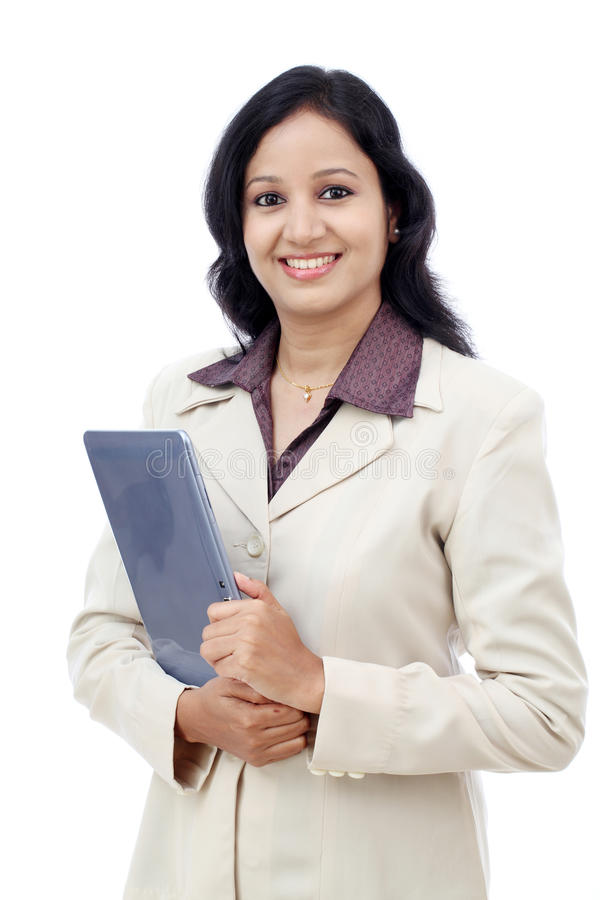 Happy business woman with tablet computer royalty free stock photography