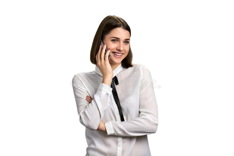 Happy business woman talking on phone. royalty free stock image