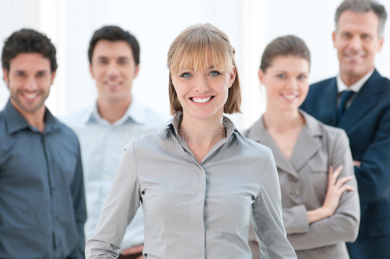 Happy Business Woman With Team Stock Photos