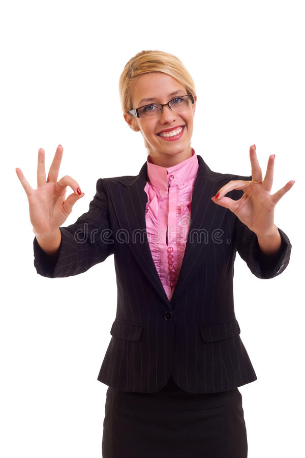 Happy business woman thumbs up. Happy business woman with thumbs up gesture, isolated royalty free stock photo